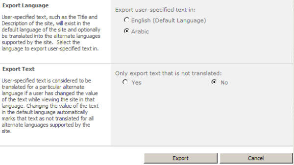 SharePoint 2010 Exporting Translation for MUI
